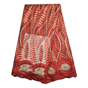 High Quality Watermelon Red Latest Wedding Dress African Lace Fabric French Lace Nigerian Tulle Craft Sewing 5 Yards KRL-6792