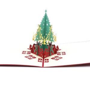 1pc Christmas Tree Music Piano Bridge Clothes Sailboat Greeting Card Laser Cut Envelope Postcard Handmade Kirigami Gift New
