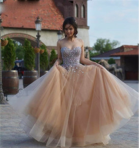 Luxury Champagne Long Prom Dresses Sweetheart Evening Dress Sparkly Crystal Tulle A Line Saudi Arabic Party Gowns Vestido L57