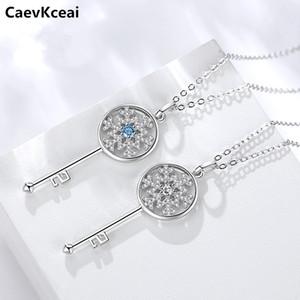 CaevKceai Romantic 925 Sterling Silver Key de Coração de bloqueio pingente de colares por Mulheres Sterling Silver Jewelry Collar