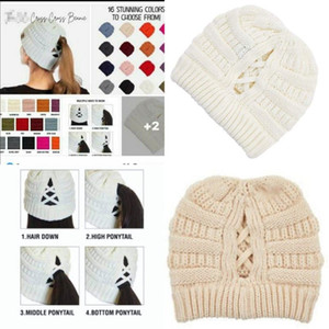 Presale Criss Cross Ponytail Beanie Winter Women Messy Bun Ribbed Knit Beanie Hat Skull Cap OOA9080