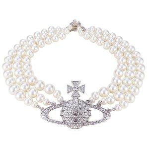 Tre strati Aereo Saturn a tre strati collana di perle Regina Madre temperamento Retro Multi-layer perla Saturno collana Female Girocollo