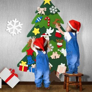 DIY Felt Christmas Tree Ornaments Xmas Tree Wall Door Holiday Props Home Decorations for New Year Gifts Kids Toys