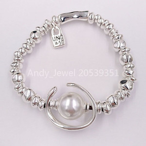 Authentic Friendship Bracelet Another Round Oh Bracelet Silver Pearl UNO de 50 Plated Jewelry Fits European Style Gift PUL1358BPLMTL0M