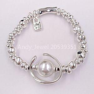 Braccialetto di amicizia autentica Un'altra UNO braccialetto rotondo Oh Silver Pearl de 50 Fits gioielli placcati europea regalo PUL1358BPLMTL0M Style