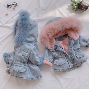 Boutique 2020 d'hiver de bébé Veste en denim plus velours réel fourrure chaude Tout-petit manteau Vêtements Fille 4 ans Enfants du nourrisson fille Parka