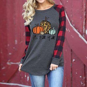 Halloween de las mujeres más el tamaño de la tela escocesa de la manga raglán Camisetas de Mujer remiendo Sudaderas calabaza Imprimir blusa ocasional de las mujeres pollover Top Tees