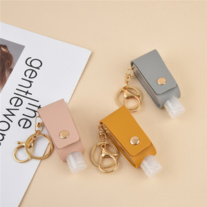 Portable Keychain Holder Hand Sanitizer Leather Case Travel Outdoor Reusable Empty Bottle Holder Keychain Holder 8 colors AAB1780