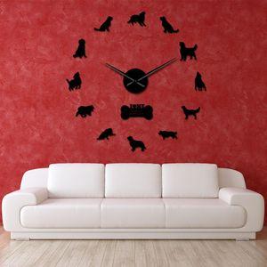 Animal Cão Assista gigante Relógio Pet cão dourado Wall Wall Frameless espelho Relógio Artwork Recados Retriever Adesivos Retriever Diy RDTWZ mx_home