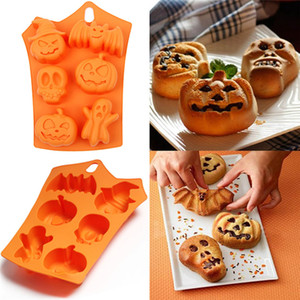 Silicone Chocolate Mould Halloween Motif DIY Fondant Candy Mould Skull Pumpkin Bat Silicone Cookie Chocolate Mold AAB2019