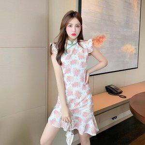 gEpbL цветочного Cheongsam National для платья рукава женских национальных женских 2020 Летнего новые воланов женщины Улучшение стиль Феи платья