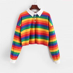 2020 Polo Shirt Women Sweatshirt Long Sleeve Rainbow Color Ladies Hoodies With Button Striped Korean Style Sweatshirt Women