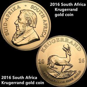 Livraison gratuite 10pcs / lot 2016 Afrique du Sud Krugerrand Pièce d'or 24K plaqué or Pièce d'or Sans preuve