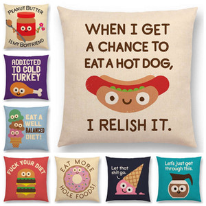 Neueste Serie Kissenbezug Hot Dog Hamburger Jam Donuts Eis Dekorative Letters Sofa-Kissenbezug