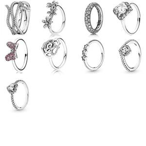 NEU 2019 100% 925 Sterlingsilber Pandora Asymmetrische Schlange Blume runde freier Cz Ehering für Mode der ursprünglichen Frauen Geschenke Schmuck
