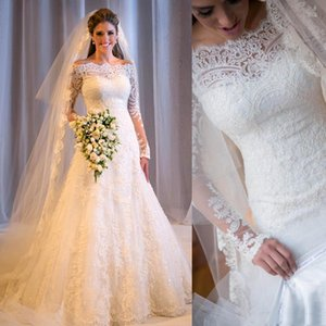 Graceful Bateau Neck Chapel Garden Lace Wedding Dresses Illusion Long Sleeve Appliques Beaded Sequins Shiny Formal Bridal Gowns