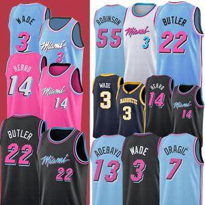 NCAA 22 Jimmy14 Tyler Butler 3 Dwyane Herro Wade 13 Bam 7 Goran Adebayo 25 Kendrick Dragic Nunn MiamiHeats College Basketball Jersey