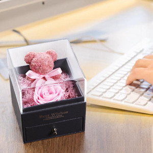 Wedding Ring Jewelry Box Real Flower Eternal Preserved Flowers Christmas Valentine's Day Home Decor Gift