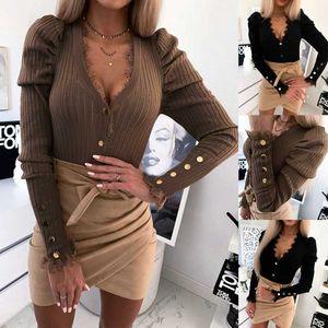2020 NOUVEAU Été Femmes Mode creux V-Col V-Col en V Sweaters à manches longues Sexy Dames Casual Slim Fit Tee Pulls Dames Tops