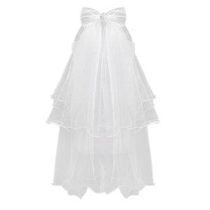 Women Wedding Veil Dress White Bowknot Layers Tulle Ribbon Edge Bridal Veils