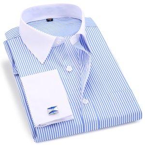 High Quality Striped Men French Cufflinks Casual Dress Shirts Long Sleeved White Collar Design Style Wedding Tuxedo Shirt 6xl Q190517
