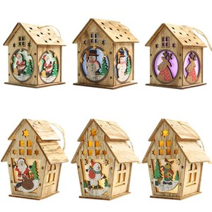6Pcs DIY Wooden House Christmas Tree Decoration LED Light Hanging Ornaments Wooden House New Year Gift for Kids