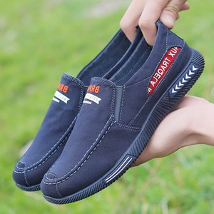 Summer Breathable Men's Canvas Shoes Korean-style Low Top Slip-on Loafers Mens Flats Casual Shoes Comfort Male Sneakers 2.5