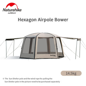 Naturehike Cloud Nest Hexagonal Inflatable Tent 150D Rainproof Sunscreen Awning Outdoor Beach Camping Tent Canopy With Air Pump