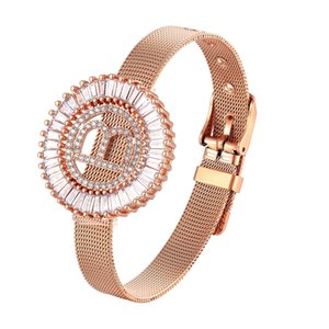 New A-Z Stainless Steel Digital Charm Bracelets for Women Watch Strap Gold Rose Gold Titanium Men Bangles letter A-Z Jewelry Accessories