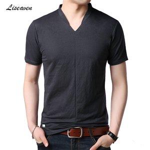 Liseaven 2019 T-Shirts Mens Casual T-shirt Men's Summer Short Sleeve V Neck T Shirt Short Tee Shirt Tees Tops 0924