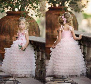 Lovely Pink Cake Dress Flower Girls Dresses Spaghetti Straps Tiered Tulle First Communion Dresses Princess Kids Party Dresses Custom L53
