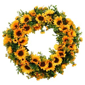 HOT SALE 20 inch Large Sunflower Wreath for Front Door Artificial Yellow Sunflower with Green Leaves Door Wreath Indoor Outdoor