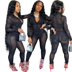 Seksi İki Adet Set Kadın Night Club Suit Katı Renk Mesh Perspektif Coat Seksi Yığın Pantolon 2 Parça Setler Kadın Kıyafetler