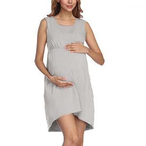 Equipo de las mujeres vestidos de cuello de manga corta sólido ocasional del color del diseñador de enfermería verano de la ropa embarazada de maternidad vestido Mami