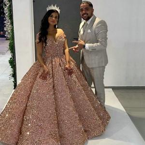 2021 Sparkly Rose Rosa Quinceanera Vestidos Off Shoulder vestido de baile Puffy Saia lantejoulas Vestido 15 Anos Curto