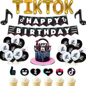 Tik Tok de fêtes TikTok Birthday Party Décorations Joyeux anniversaire Banne For Kids Garçons Filles Bday Party