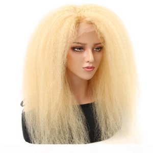 HCDIV 613 Lingt Blonde Kinky Straight Lace Front Wigs Brazilian Virgin Raw Human Hair Wigs 13*4 Transparent Lace Front 150% Density KS 63