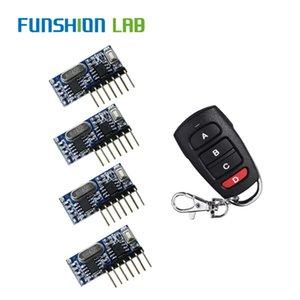 Funshion RF Remote Control Transmitter 433MHz Wireless Receiver Código de Aprendizagem 1527 Decoding Módulo 4 Saída CH Botão Aprender
