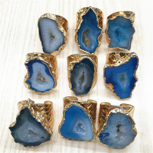 Природные бразильский Electroplated Цвет обрезная Slice Open Синий Агаты Кольца Geode Drusy Druzys Женщины Свадьба Обручальное кольцо Set