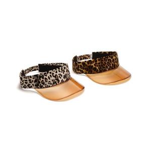 Leopard Transparent vide Top Hat 2020 d'été Femmes Hommes Chapeau de soleil en plastique léopard PVC crème solaire Chapeau Visor Caps vélo Pare-soleil DHD1592