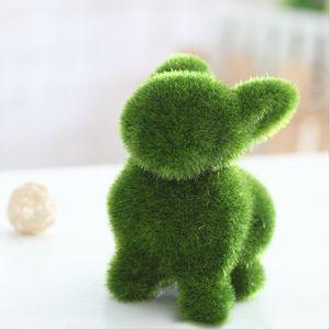 Creative Animal Shaped Green Flocking Toys Alpaca Dog Rabbit Squirrel Artificial Plant Kids Gifts Desktop Decoration Supplies C0924