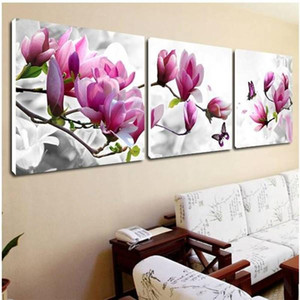 3 Piece Free Shipping Cheap Abstract Modern Wall Painting Purple Pink Flower Home Decorative Art Picture Paint On Canvas Prints