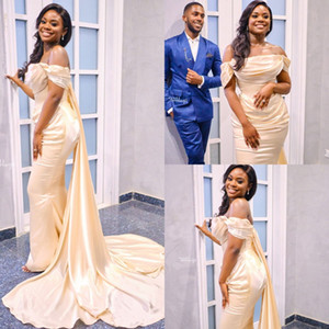 2020 Mermaid Prom Dresses Ruffled Satin Strapless African Evening Gowns Sweep Train Custom Made Robes De Soirée