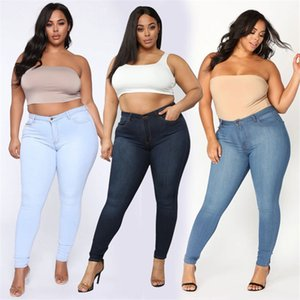Plus Size Jeans XL-5XL Femmes Jeans taille haute Skinny Jeans Casual Haut stretch Crayon Pantalons Drop Shipping