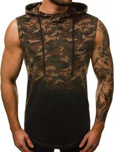 Vest Camouflage 3D Style Digital allentato maglietta Mens Abbigliamento casual Gradient Stampa con cappuccio senza maniche Designer Tshirt