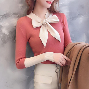 Sweater Women Autumn Bow Decoration Sweet Sweater V Neck Long Sleeve Stitching Design Knitted Pullover Sweaters