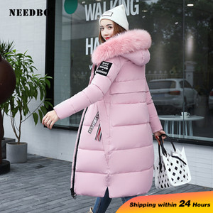 NEEDBO Зимняя куртка женщин меховой воротник с длинными Parka Теплый Тонкий женщина зимние пальто и куртки Puffer проложенный Outwear Длинные пальто Женщины 200928