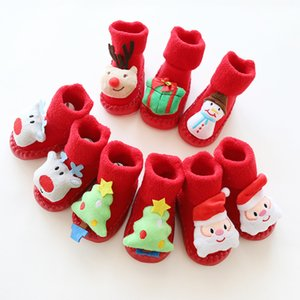 Christmas thick three-dimensional cartoon baby shoes and socks baby anti-skid toddlers red floor socks