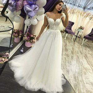 2020 Luxury Beach Wedding Dresses Long Aline vestidos de noiva White Tulle Lace robes de mariée Perspective vestidos de novia