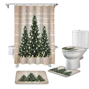 Albero di Natale del giornale bassa Retro Shower Curtain tenda di acquazzone impermeabile set da bagno e set di Rug